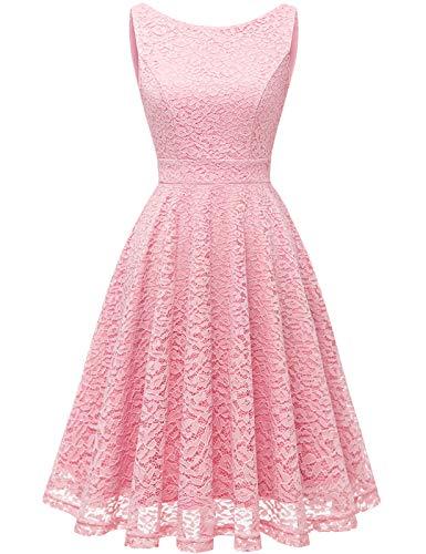 Bbonlinedress Spitzenkleid Damen cocktailkleid Damen Kleider schwarz Damen Rockabilly Kleider Damen Hochzeit Abendkleider lang cocktailkleid Damen Kleid Damen Pink S