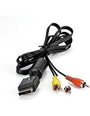 amathings Cable de extensión de video y audio para Sony Playstation 2 y 3, PS2 / PS3 y proyector con núcleo de ferrita (sin adaptador de Scart) AV