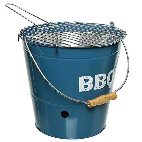 zeitzone Grilleimer BBQ Picknickgrill Holzkohlegrill Tischgrill Campinggrill Blau Ø 27cm