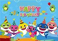 7x5フィート ポリエステル アニメ ベビー サメ 家族 写真 背景 子供用 誕生日パーティー ブルーオーシャンテーマ BV047