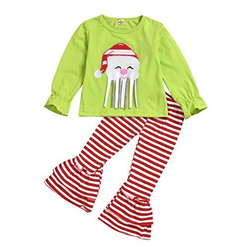 DAY8 Vetement Bebe Fille Hiver Pas Cher Cadeau Noel Naissance Fille Pyjama Fille Automne Survetement Enfant Fille Mode Habit Ensemble Fille Haut Top Manche Longue + Pantalon (110(3-4 Ans), Vert)