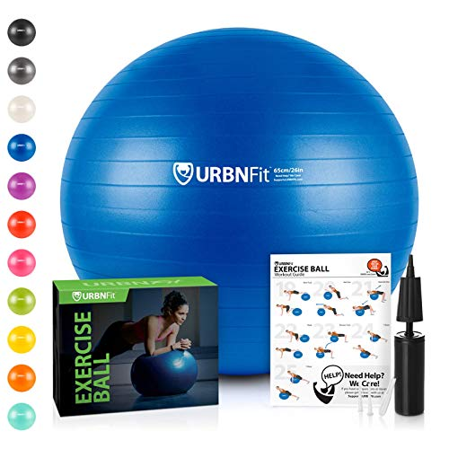 URBNFit Exercise Ball (65 cm) for Stability & Yoga - Workout Guide...