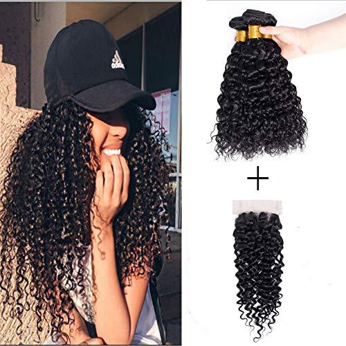 Wendy Cheveux 9 A Extensions cheveux crépus Cheveux bouclés 3 lots 12 14 40,6 cm Tissage cheveux 300 g Cheveux Dentelle frontale Fermeture trois supplémentaire 4 x 4 Fermeture pièce 35,6 cm Hairline