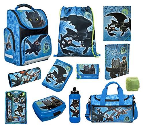 Scooli Schulranzen-Set 16 tlg. Dragons - Drachenreiter von Berg - mit Dose Flasche Sporttasche Federmappe Regenschutz