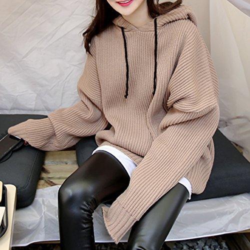 Malilove Un Suéter Tricotado Coat Tamaño Flojo Estudiante Hoodie Código F Caqui