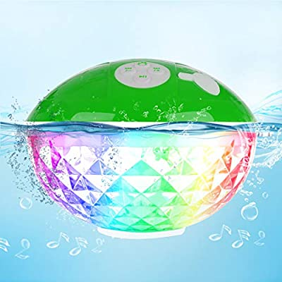 FirstE Bluetooth Hot Tub Speaker Colorful LED Lights, Portable Wireless Speaker Built-in Mic, Floating Waterproof Speaker Rechargeable Battery, Bath Shower Speaker for Jacuzzi Pool Home Party (Green) from HKeu