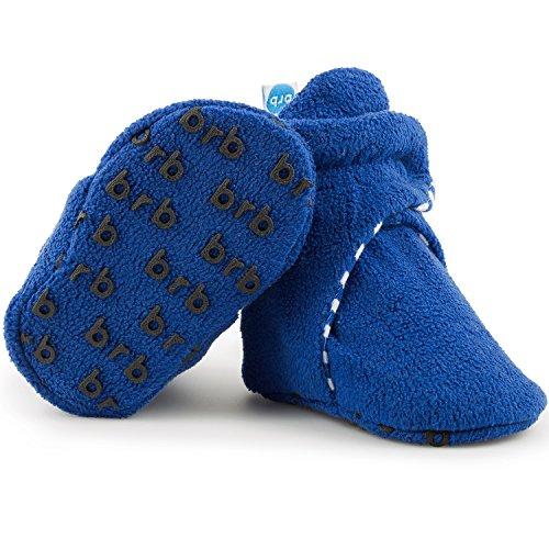Fleece Baby Booties - Organic Cotton & Gripper Bottoms, Cozy Boys & Girls Bootie (US 1, Anchor Blue)