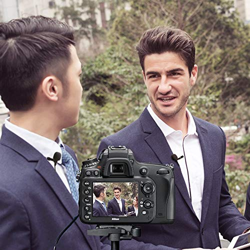 Dual Lavalier Microphones-MAONO AU-200 Lapel Shirt Handsfree Clip-on Battery Powered Mics for DSLR Camera, iPhone, Android, Smartphone, PC, Computer, Laptop, Recorder (236in/20ft)