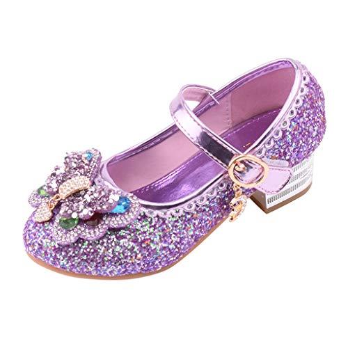 Zapatos Princesa Perla Lentejuelas Niños Sandalias de Verano para Niña Zapatos de Cuero de Diamantes de Imitación Zapatos de Baile de Cristal Zapatos con Hebilla de Fiesta Rosa Morado Azul 25-35 EU