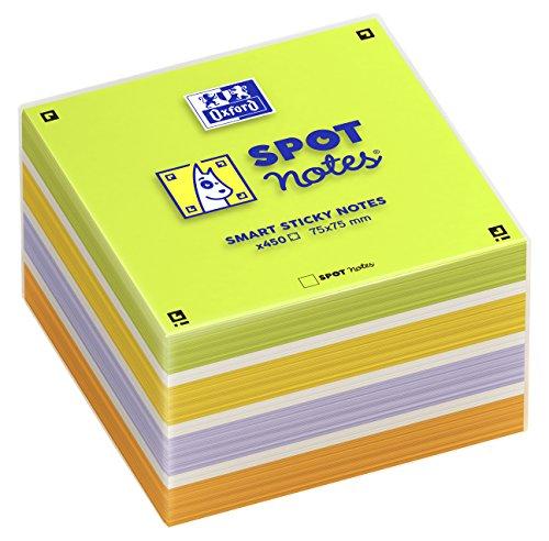 Taco de notas adhesivas Spot Notes lisas Oxford. Hojas de colores Lima, blanco, lila, amarillo y naranja.