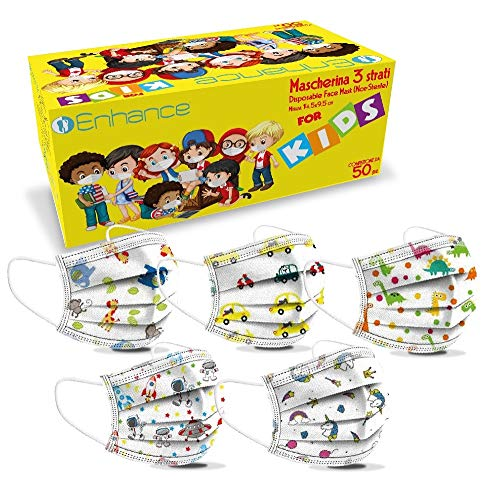enhance Mascherine Misura per Bambini 50 PZ 3 Strati Dispositivo di Classe I Tipo II,Confezione da 50 PZ Colore (fantasie), nasello Regolabile,Elastici Leggeri