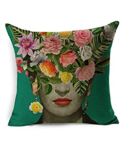 HLPPC Cushion Cover Beautiful Women With Colorful Flowers Pillowcase 17 x 17 Inches Woven Pillow Covers Cotton Linen Home Decor Cushion Cover for Sofa (A2)