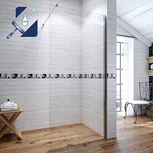 AQUABATOS® 100x200 cm Walk In Dusche 8mm Duschwand Glasduschwand Duschabtrennung Duschtrennwand Glastrennwand Glaswand mit Nano Beschichtung