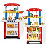 Play Kitchen Set for Kids Double Sided Kids Kitchen Set and Vending Machine with Spray Lights Sounds...