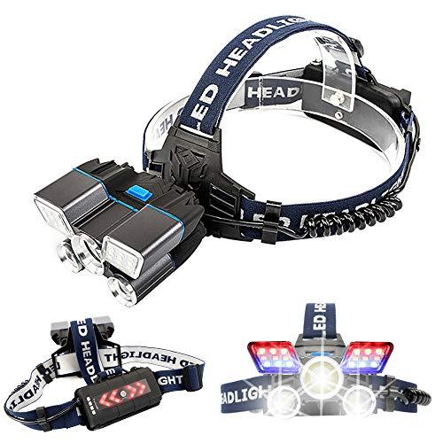 KOWE Stirnlampe, Superheller LED-Scheinwerfer Mit Roten Und Blauen Warnleuchten 21 Lampenkugeln Wasserdichter LED-Scheinwerfer