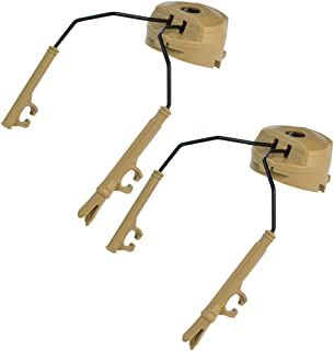 baotongle 1Pair 3.9''x 1.8'' Tactical Helmet Headset Support ARC Rail Adaptor Suspension Headphones Bracket Hunting Earmuffs Left and Right Side Attachments For Peltor Comtac (Tan)