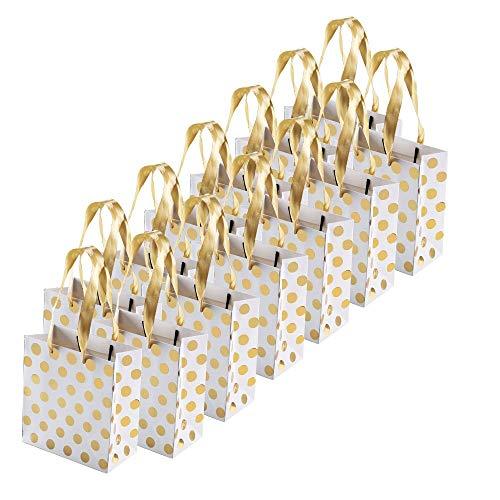 FOGAWA 12 PCS Geschenktüten Gold Geschenktaschen Klein Geschenktüten Tragetaschen Papier Tüten Papiertaschen mit Henkel für Geburtstag Hochzeit Valentinstag (15 x 14 x 7cm)