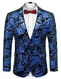 COOFANDY Men Stylish Gold Metallic Suit Blazer Tuxedo for Party Prom Nightclub