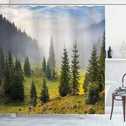 ABAKUHAUS Wald Duschvorhang, Grüne Bäume auf der Wiese, Seife Bakterie Schimmel & Wasser Resistent inkl. 12 Haken & Farbfest, 175 x 200 cm, Weiß grünen