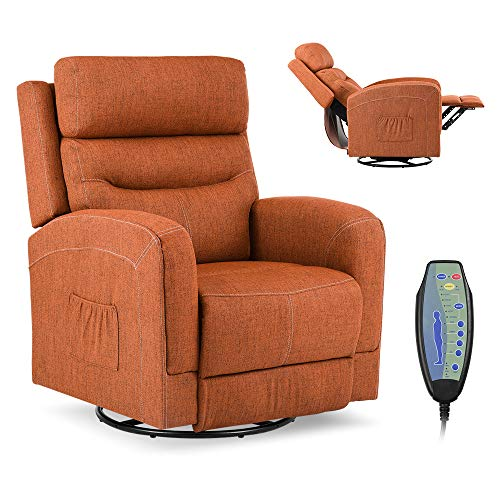 Massage Recliner Chair with Lumbar Heating, Ergonomic Rocker Lounge Chair, Reclining Sofa for Living Room, 360 Degree Swivel, Side Pocket & Remote Control. (Fabric - Brown)