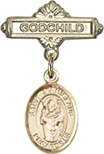 14kt Gold Baby Badge with St. Stanislaus Charm and Godchild Badge Pin St. Stanislaus is the Patron Saint of Broken Bones 1 X 5/8