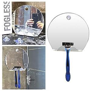 CABINA HOME - Espejo de ducha de afeitado sin niebla, sin marco, inastillable, para colgar en la pared, antivaho y baño de plata, ligera, herramienta de viaje con 2 piezas de ventosas