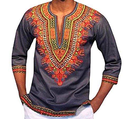 DressUMen Impresión de la moda africana dashiki jersey túnica tapas para Hombres Gris XS
