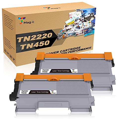 7Magic TN2220 TN2010 Cartucho de Tóner Compatible, para Brother MFC-7360N MFC-7460DN DCP-7055 DCP-7060D DCP-7065DN HL-2240 HL-2130 HL-2132 HL-2135W HL-2240 HL-2250DN (Negro, 2-Pack)