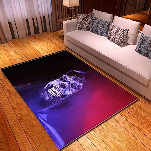 LGXINGLIyidian Casa Alfombra Serie Creativa del Cráneo del Demonio Oscuro Alfombra Suave Antideslizante De Decoración del Hogar De Impresión 3D T-512K 160X230Cm