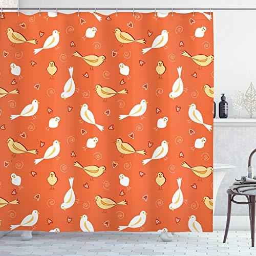 ABAKUHAUS Orange Duschvorhang, Vögel mit Herz-Shapes, mit 12 Ringe Set Wasserdicht Stielvoll Modern Farbfest & Schimmel Resistent, 175 x 200 cm, Orange Gelb-weiß