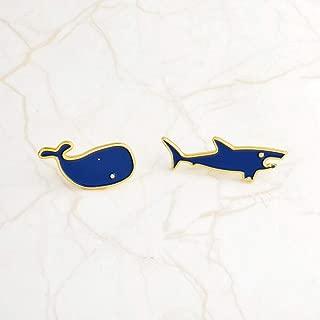 2 Piece/Set Cartoon Shark Whale Metal Enamel Brooch Denim Jacket Pin Badge