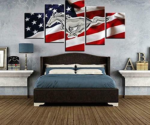 COCOCI Lienzo 5 Piezas Mustang American United States Flag Lienzos Decorativos Cuadros Grandes Baratos Cuadros Decoracion Cuadros para Dormitorios Modernos Cuadros Decoracion Regalos Personalizados