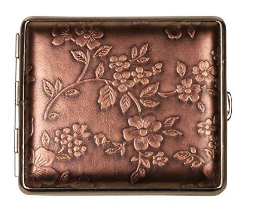 v.H. ZIGARETTENETUI - Kunst Leder - Bronze Blumen - SEIT 1912 Made IN Germany