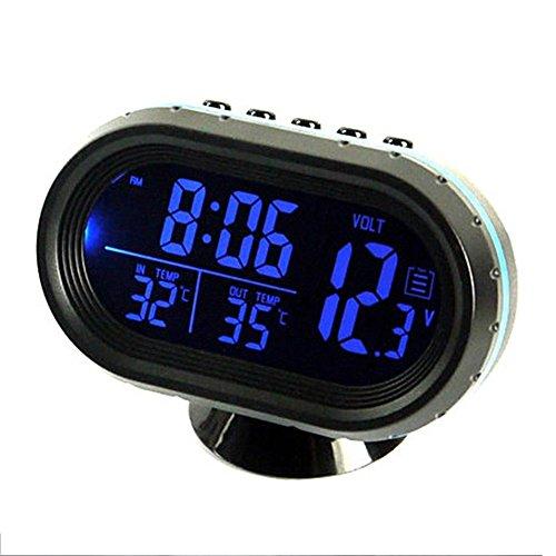 Termómetro para coche con pantalla LCD, 12 – 24 V, encendedor de cigarrillos de coche, reloj LCD, multifunción, LCD, voltímetro, medidor de temperatura, reloj electrónico con alarma