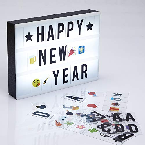 A4 Cinema Light Box Message Light Box- DIY Personal LED Sign,Marquee Style LED Lightbox w 220 Letters Emojis Numbers for Festival/Birthday/Anniversary/Home/Wedding/Shop Décor,USB Or Battery Powered