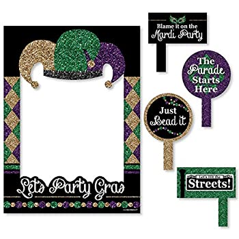 Big Dot of Happiness Mardi Gras - Masquerade Party Selfie Photo Booth Picture Frame & Props - Printed on Sturdy Material