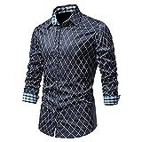 XUEbing Camisas de vestir impresas para hombre, manga larga, casual, ajustadas, costuras a cuadros, solapa ligera, blusa para fiesta diaria, azul marino, XXL