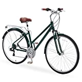 A/O Rosa Women's Bicycle 21-Speed Hybrid Commuter Bike, Forest Green