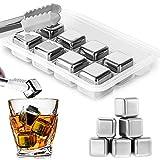 Whisky Eiswürfel Steine,Edelstahl Eiswürfel Set mit Zangen - 8er Whisky Edelstahl Eiswürfel Wiederverwendbar,Geschmacksneutral & Schnelles Kühlen,Edelstahl Kühlstein Für Whisky Cocktail Bier Wodka