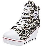 Wealsex Mujer Cuñas Zapatos De Lona High-Top Zapatos Casuales Encaje Talla Grande 35-43 (37 EU, Leopardo)