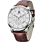 BENYAR Chronograph Waterproof Watches Business and Sport Design Brown Leather Band Strap Wrist Watch for Men (L Silver White B)