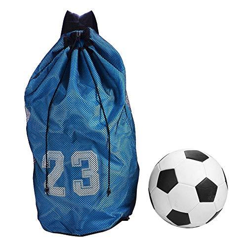 YMYGCC Bolsas de baloncesto grandes para pelotas de fútbol, con cordón, bolsa de fitness, bolsa de baloncesto al aire libre, equipo deportivo 145 (color azul, tamaño: L)