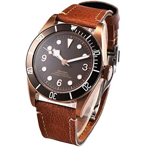 41mm Corgeut latón PVD caso cristal zafiro automático mecánico reloj de los hombres
