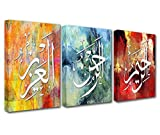 Tucocoo Islamic Wall Art 3 Pieces Art Handpainted Oil Paintings Canvas Wall Art for Living Room Muslim Canvas Art Gift Muslims Room Decor HD Prints Framed Ready to Hang 42x20 Inch