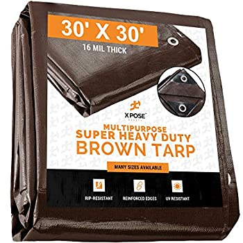 30  x 30  Super Heavy Duty 16 Mil Brown Poly Tarp Cover - Thick Waterproof UV Resistant Rip and Tear Proof Tarpaulin with Grommets and Reinforced Edges - by Xpose Safety