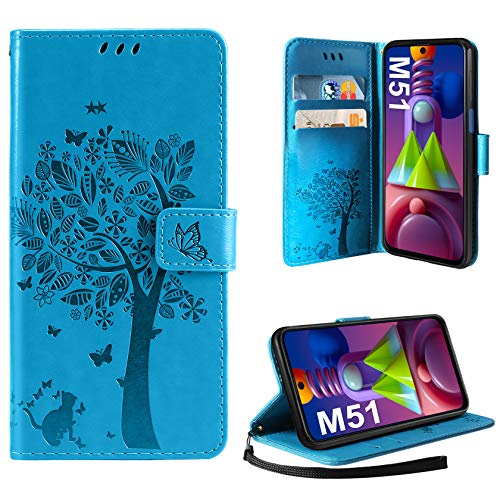 AROYI Hülle Kompatibel mit Samsung Galaxy M51 Lederhülle, PU Leder Flip Tasche Handyhülle mit [Kartenfach] [Magnetverschluss] Standfunktion Brieftasche Handy Schutzhülle, Blau