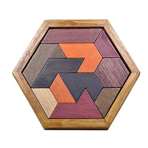 LAQI Rompecabezas de Madera Hexagon Tangram Brain Puzzle Games for Kids 12Pcs