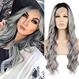 RDY Grey Ombre Lace Front Wigs for Women with Black Roots Synthetic Body Wave Long Silver Grey Wigs Pre Plucked Natural Hairline Glueless Heat Friendly Cosplay Wig 24 Inches,150% Density