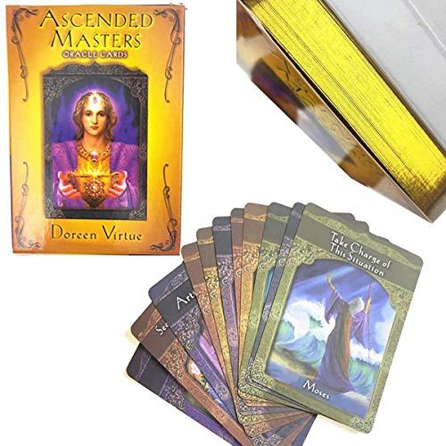 MAZ Tarjetas de Maestros Ascendidos, 44 Juegos de Tarjetas de Tarot de Oro Garabateados Juegos Divertidos de Tarjetas de Juego (Con Instrucciones)