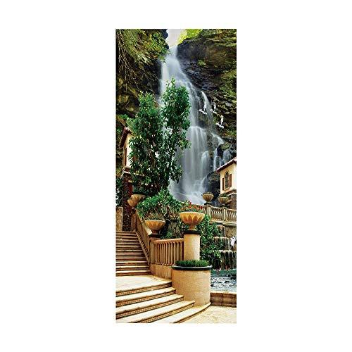 KEXIU 3D Cascada del parque PVC fotografía adhesivo vinilo puerta pegatina cocina baño decoración mural 77x200cm